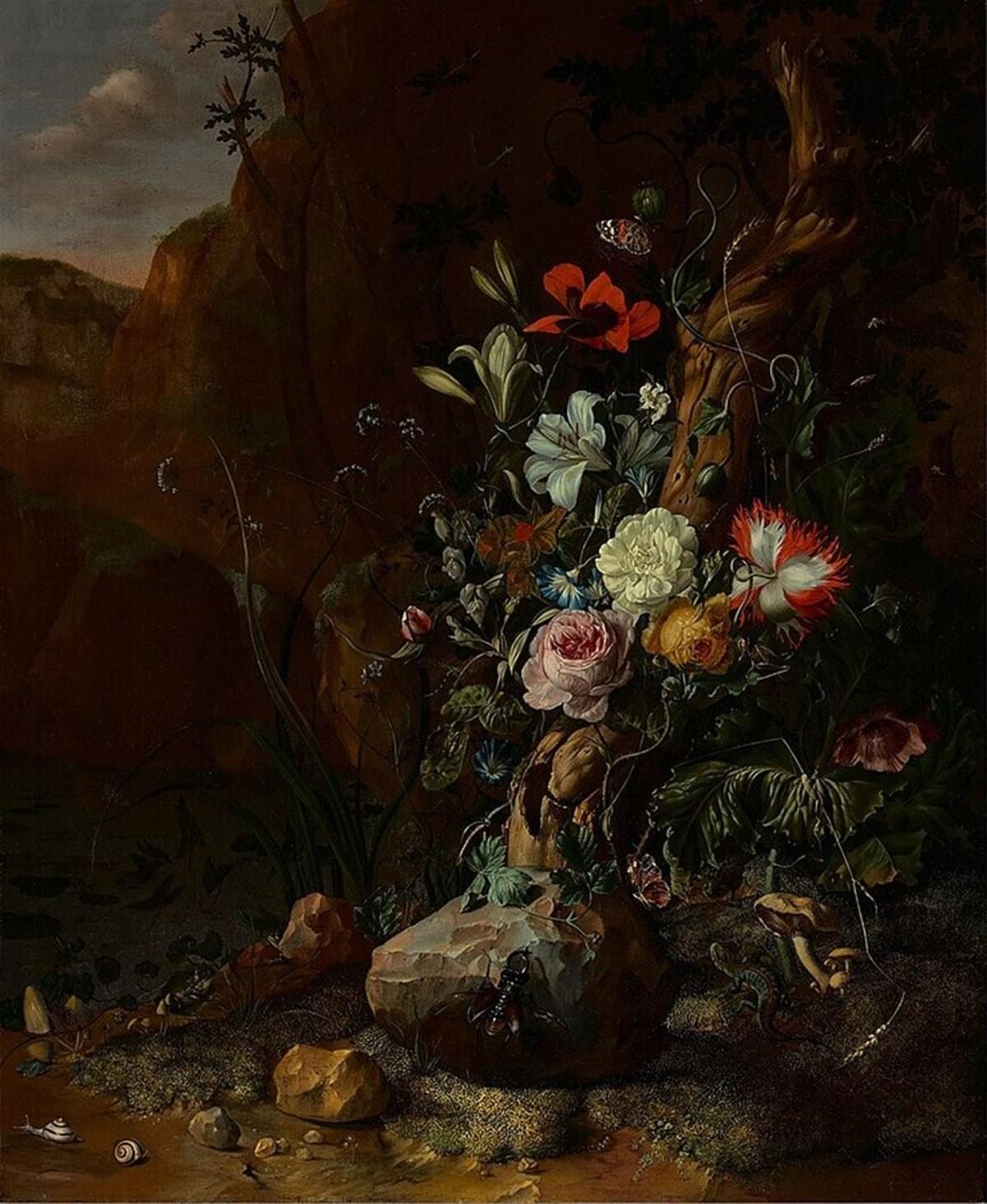 738px Rachel Ruysch Boomstam omgeven door bloemen en door vlinders en andere dieren 1751 OK Museum Boijmans Van Beuningen