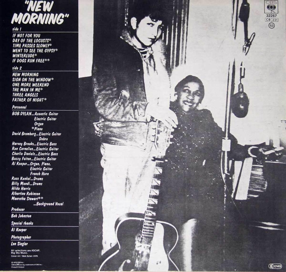 NM4bob dylan new morning vinyl lp back