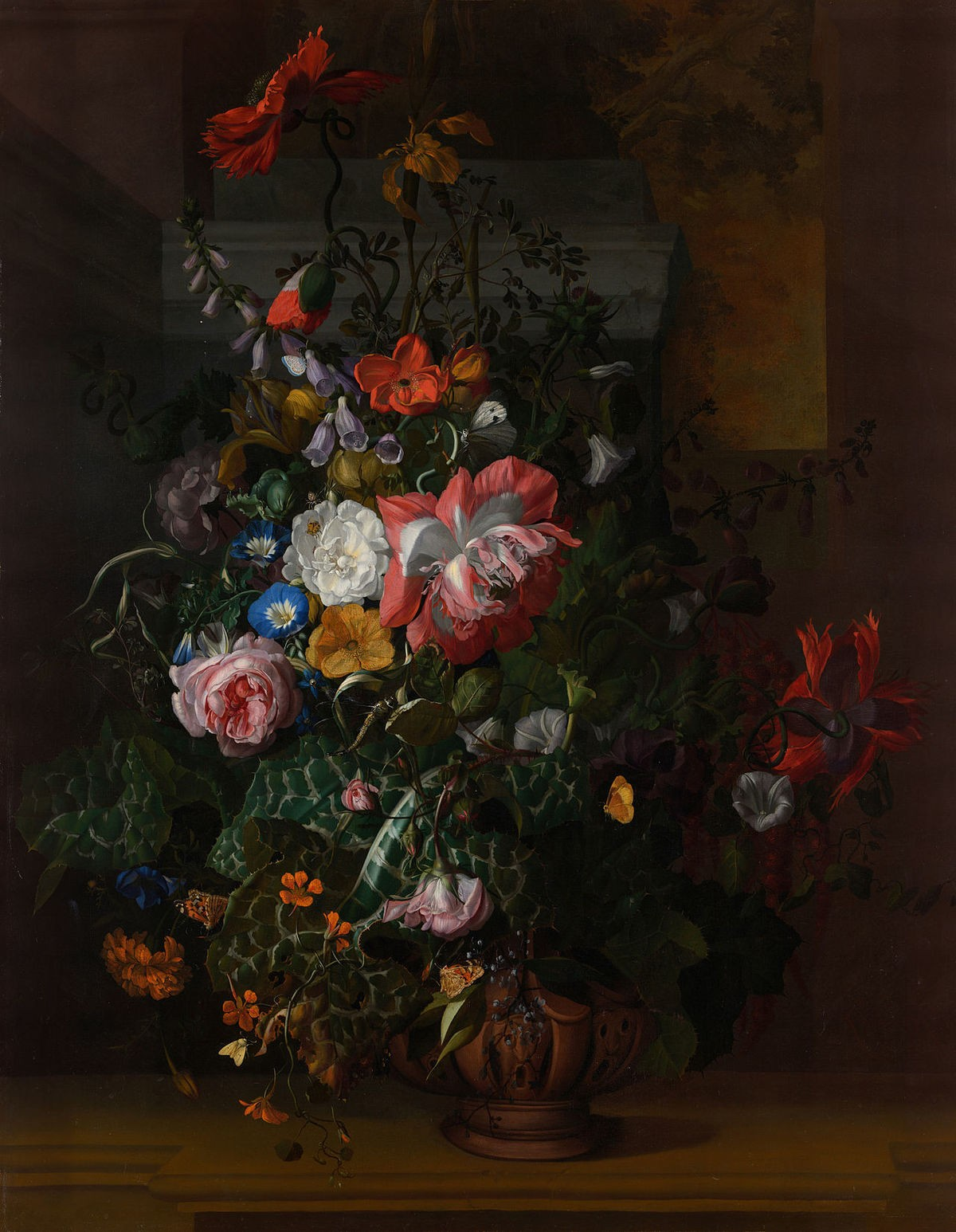 Roses Convolvulus Poppies and Other Flowers in an Urn on a Stone Ledge Rachel Ruysch Google Cultural Institute