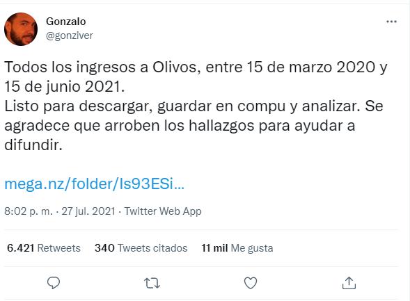 @gonziver, periodista que publicó en Twitter la información sobre los ingresos y egresos de Olivos.